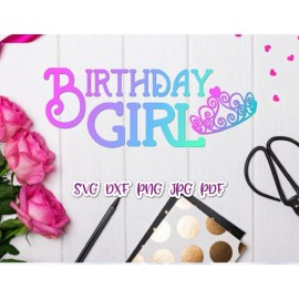 Birthday Girl Tiara Princess Clip Art Print and cut file Sublimation